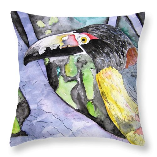 Touccan Throw Pillow featuring the painting Toucan Bird Tropical Painting Fine Modern Art Print by Derek Mccrea