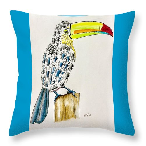 Nature Bird Toucan Bugs Surrealist Colorful Throw Pillow featuring the pastel Toucan - You Are What You Eat by Graham Wallwork