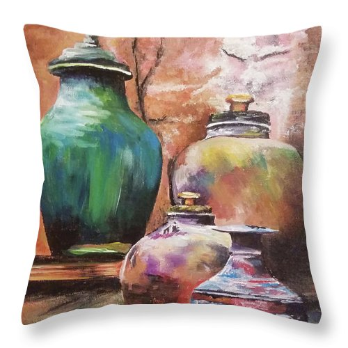Vases Throw Pillow featuring the painting Touch Of Tuscan by Tami Hughes