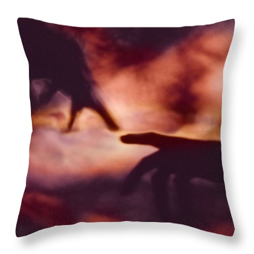 Abstract Throw Pillow featuring the digital art Touch by Steve Karol