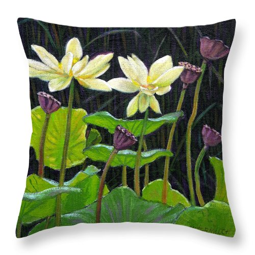 Lotus Throw Pillow featuring the painting Touching Lotus Blooms by John Lautermilch