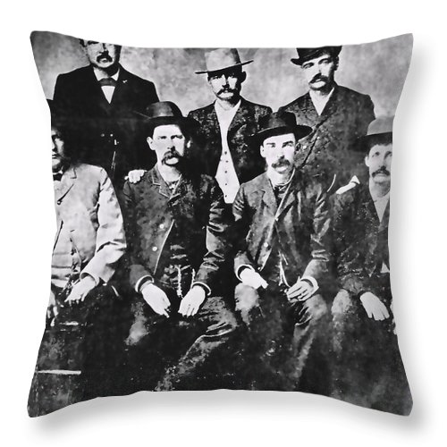 men Of The Old West Throw Pillow featuring the photograph Tough Men Of The Old West by Daniel Hagerman