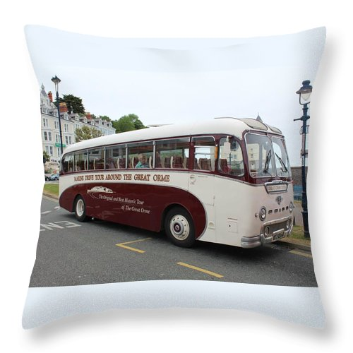 Bus Vintage Wales Cream Red Windows Glass Throw Pillow featuring the photograph Tour Bus by JLowPhotos