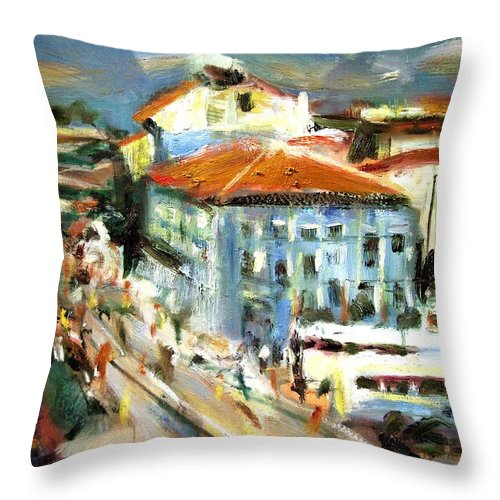 Dornberg Throw Pillow featuring the painting Tour Embarkation by Bob Dornberg