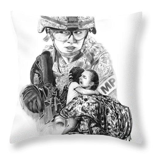 Tour Of Duty - Women In Combat Throw Pillow featuring the drawing Tour Of Duty - Women In Combat Le by Peter Piatt