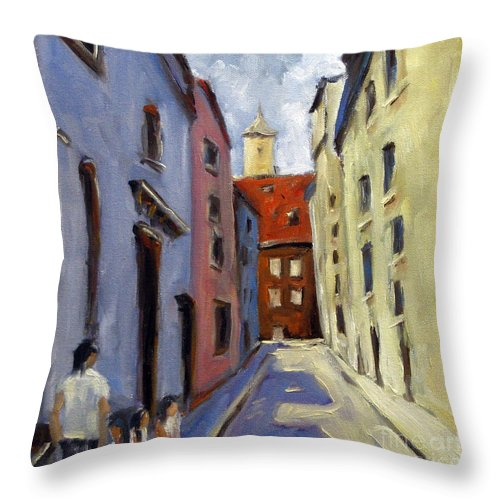 Urban Throw Pillow featuring the painting Tour Of The Old Town by Richard T Pranke