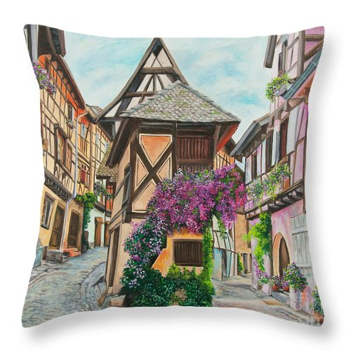 France Throw Pillow featuring the painting Touring In Eguisheim by Charlotte Blanchard