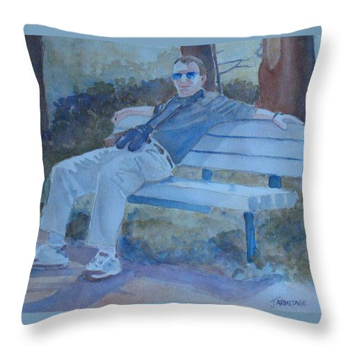 Tourists Throw Pillow featuring the painting Tourist At Rest by Jenny Armitage