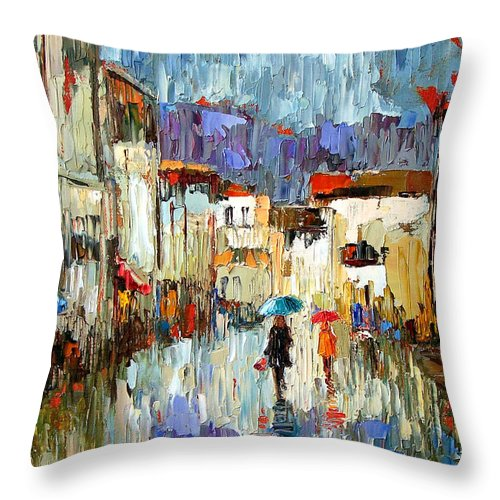 Landscape Throw Pillow featuring the painting Tourists by Debra Hurd