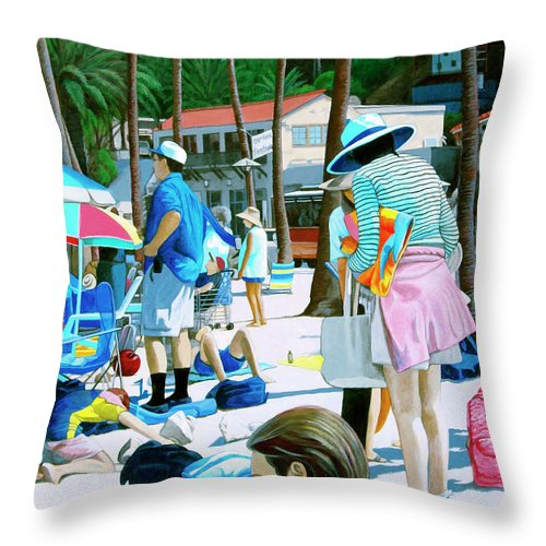 Catalina Throw Pillow featuring the painting Tourists by Snake Jagger