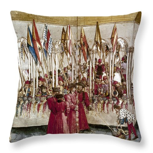 1460s Throw Pillow featuring the photograph Tournament: Helmets by Granger