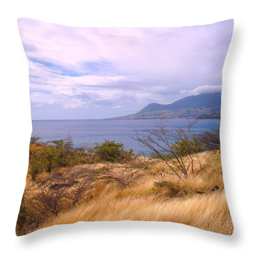 St Kitts Throw Pillow featuring the photograph Towards Basseterre by Ian MacDonald