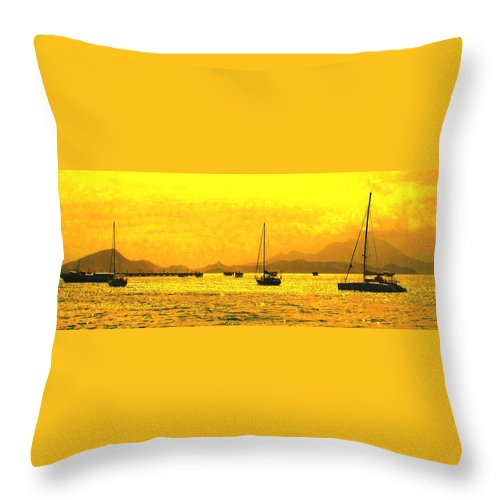 Basseterre Throw Pillow featuring the photograph Towards Nevis by Ian MacDonald