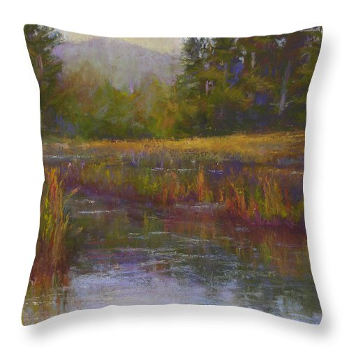 Landscapes Throw Pillow featuring the painting Towards Ticonderoga by Susan Williamson
