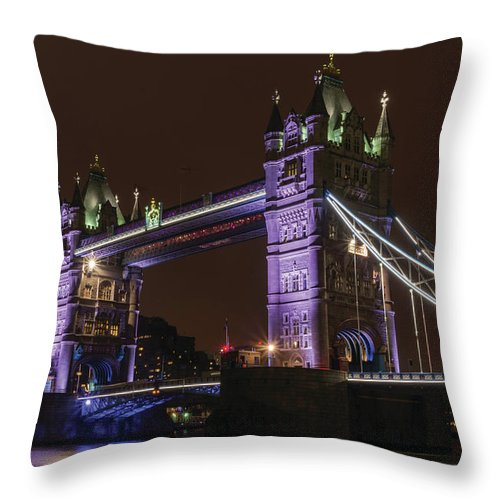 Tower Bridge Throw Pillow featuring the photograph Tower Bridge Nights by Christopher Carthern