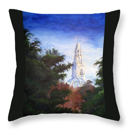 Balboa Park Throw Pillow featuring the painting Tower Over The Grove II by Duke Windsor