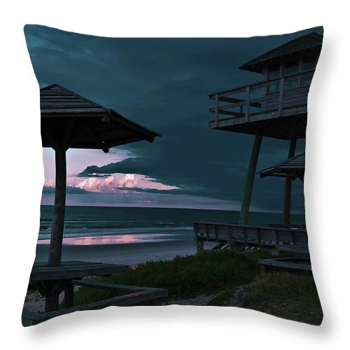 Shore Throw Pillow featuring the photograph Tower Over The Shoreline by DigiArt Diaries by Vicky B Fuller