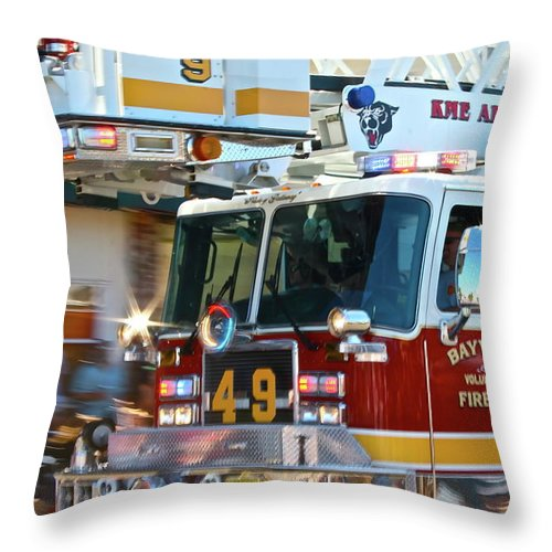 Fire Truck Throw Pillow featuring the photograph Tower by Rick Monyahan