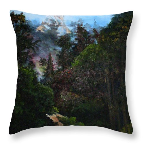 Balboa Park Throw Pillow featuring the painting Tower West Of 163 by Duke Windsor