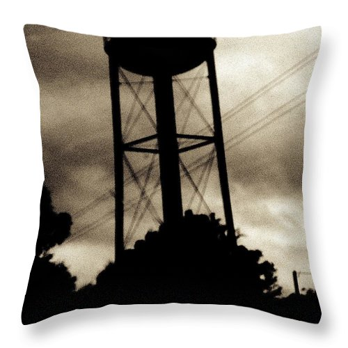 Water Tower Throw Pillow featuring the photograph Tower With Intersecting Lines II by Stephen Hawks