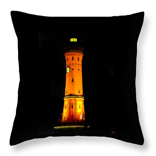 Lighthouse Throw Pillow featuring the painting Towering Golden Glory by Bruce Nutting