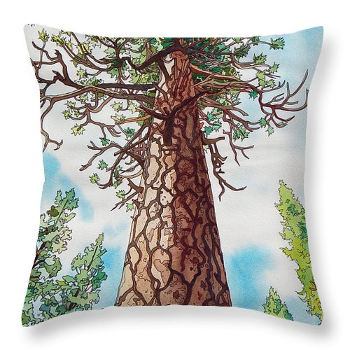 Ponderosa Throw Pillow featuring the painting Towering Ponderosa Pine by Terry Holliday