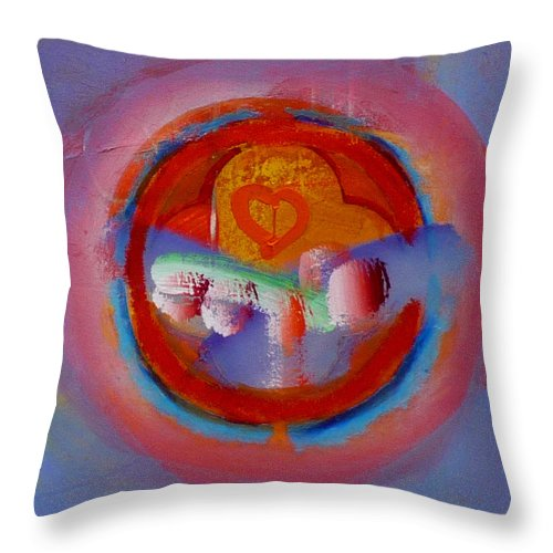 Logo Throw Pillow featuring the painting Towers In The Mist by Charles Stuart