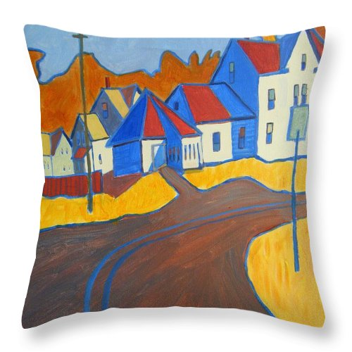 Buildings Throw Pillow featuring the painting Town Center Plaistow Nh by Debra Bretton Robinson