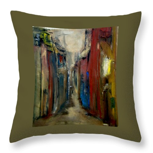 Abstract Throw Pillow featuring the painting Town by Rome Matikonyte