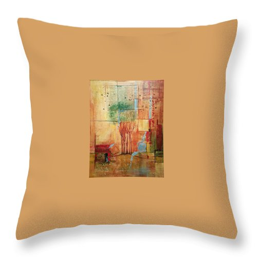 Treeline Abstract Throw Pillow featuring the painting Town Square by Ginger Concepcion