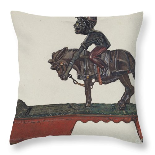 "Throw Pillow featuring the drawing Toy Bank: ""i Always Did 'spise A Mule"" by Florian Rokita"