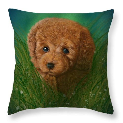 Animals Throw Pillow featuring the digital art Toy Poodle Puppy by Michael Conley