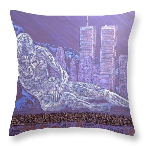 War Throw Pillow featuring the painting Toy Soldiers by Judy Henninger