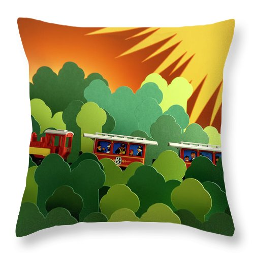 Train Throw Pillow featuring the photograph Toy Train by Stefania Levi