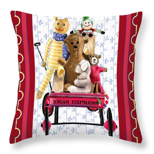 Christmas Throw Pillow featuring the digital art Toys In A Red Wagon by Arline Wagner