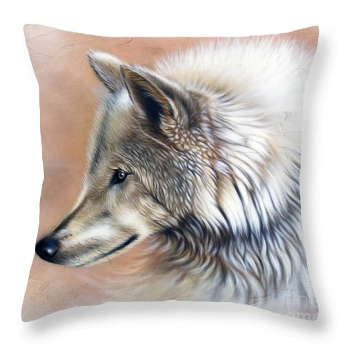 Wolves Throw Pillow featuring the painting Trace IIi by Sandi Baker
