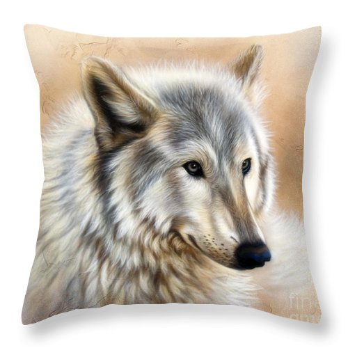Acrylic Throw Pillow featuring the painting Trace by Sandi Baker