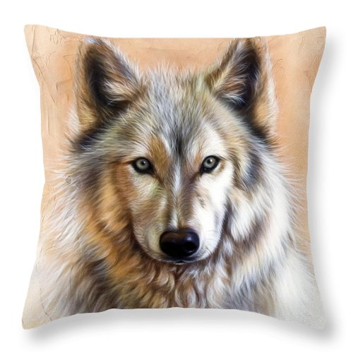 Wolves Throw Pillow featuring the painting Trace Two by Sandi Baker