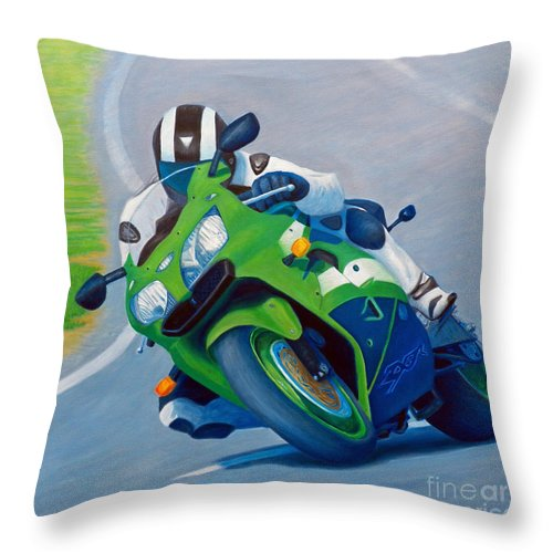 Motorcycle Throw Pillow featuring the painting Track Day - Kawasaki Zx9 by Brian Commerford