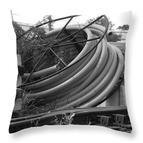 Blacka Nd White Throw Pillow featuring the photograph Tracks And Cable by Rob Hans