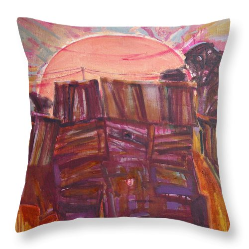 Oil Throw Pillow featuring the painting Tracks by Sergey Ignatenko