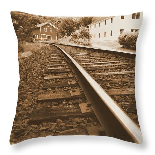 Landscape Throw Pillow featuring the photograph Tracks To Town by Karol Livote