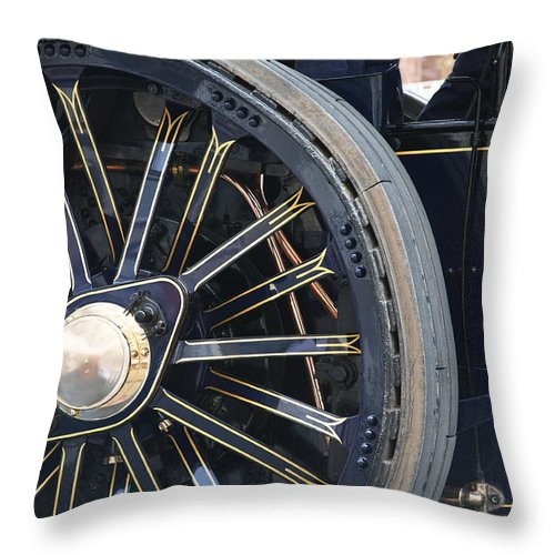 Victorian Throw Pillow featuring the photograph Traction Engine. by Christopher Rowlands