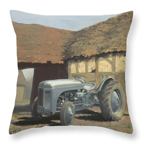 Tractor Throw Pillow featuring the painting Tractor And Barn by Richard Picton