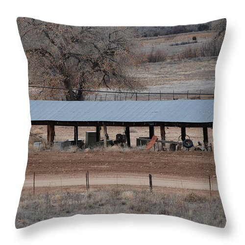 Architecture Throw Pillow featuring the photograph Tractor Port On The Ranch by Rob Hans