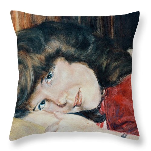 Girl Throw Pillow featuring the painting Tracy by Bryan Bustard