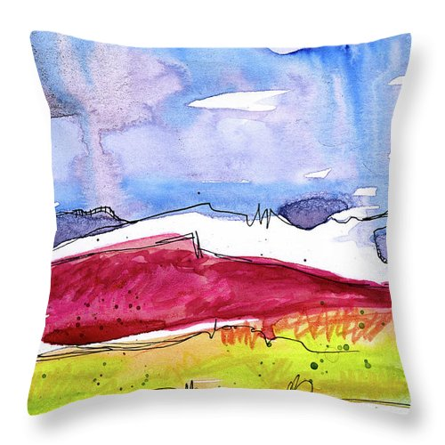 Mountains Throw Pillow featuring the painting Trader's Bluff by Tonya Doughty