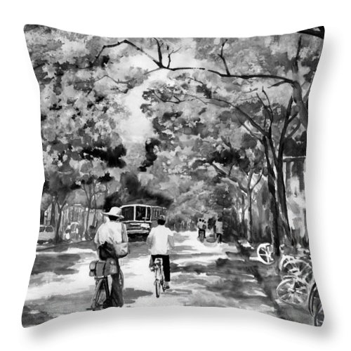 Xian Throw Pillow featuring the painting Tradition Vs Modernism by Eileen Fong