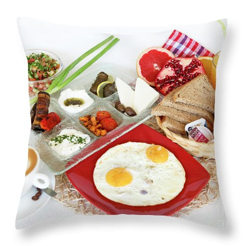 Food Throw Pillow featuring the photograph Traditional Israeli Breakfast by PhotoStock-Israel