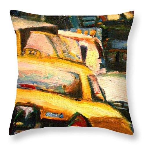 Dornberg Throw Pillow featuring the painting Traffic Jam by Bob Dornberg